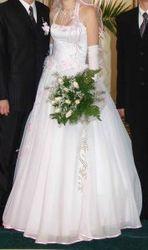 Продам свадебное платье белого цвета с розовыми деталями